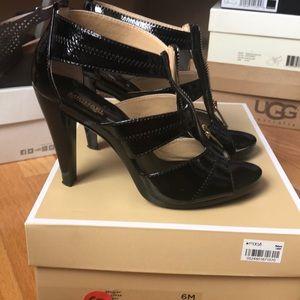 Michael Kors Black Berkeley T-strap patent heels